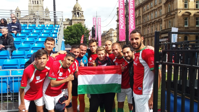 Meeting up with the Hungarian team after the Zimbabwe game.